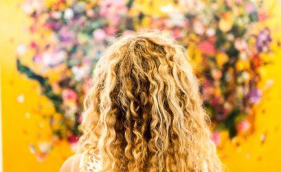 photo of blond, curly hair