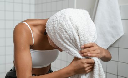 photo of woman with a towel